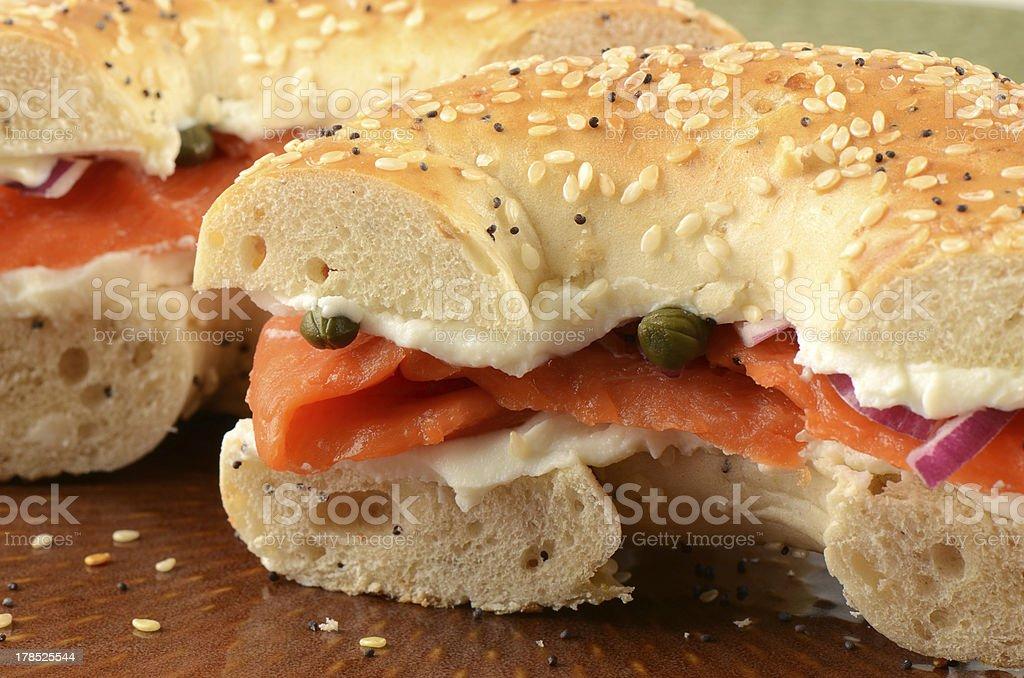 Smoked salmon on bagel royalty-free stock photo