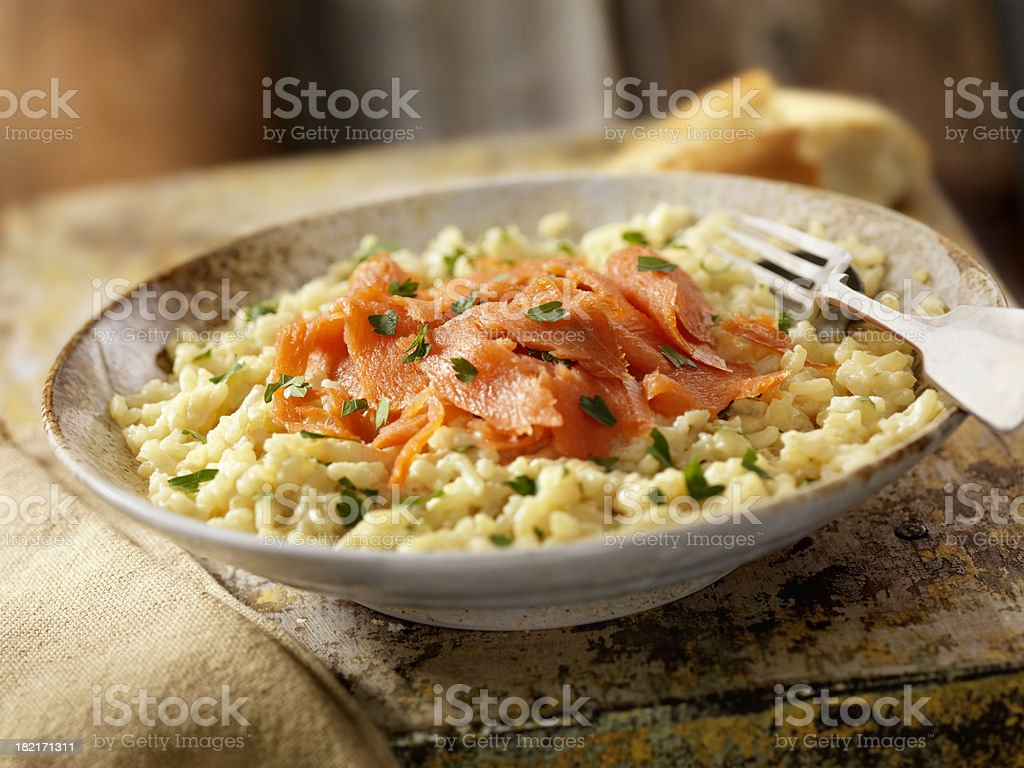 Smoked Salmon Risotto royalty-free stock photo