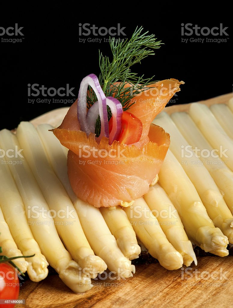 Smoked Salmon Roll and Asparagus royalty-free stock photo