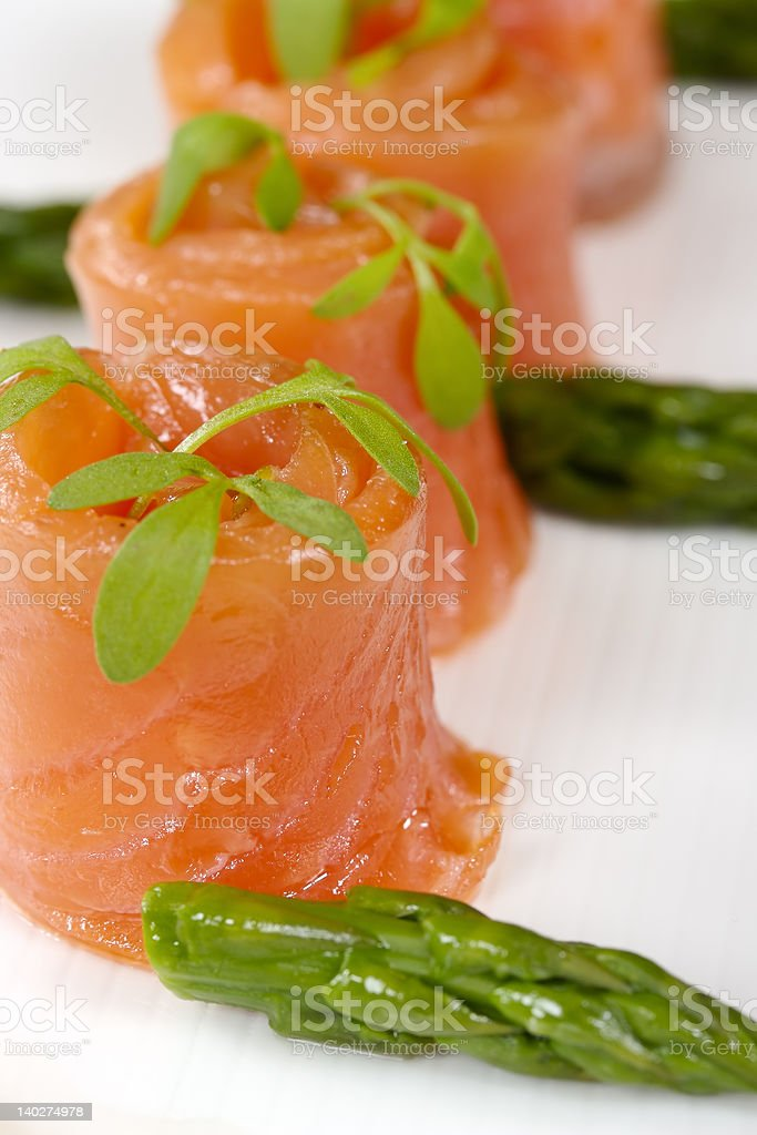 Smoked Salmon Rolls royalty-free stock photo