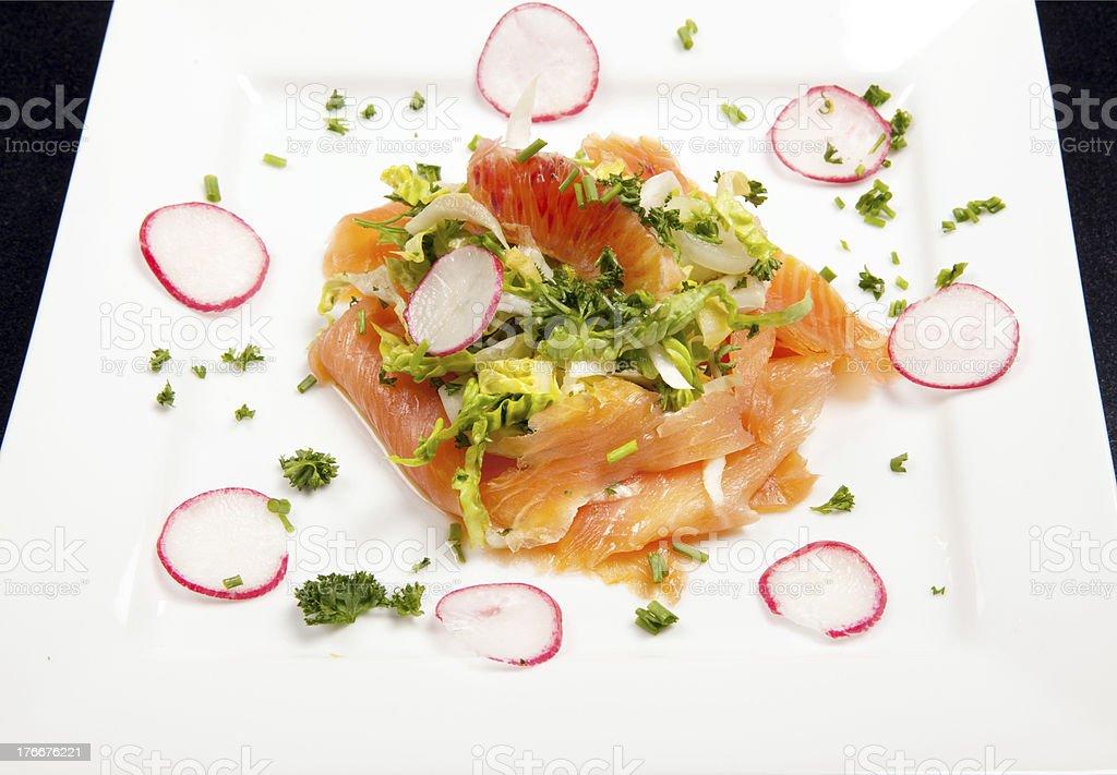 smoked salmon salad appetizer royalty-free stock photo