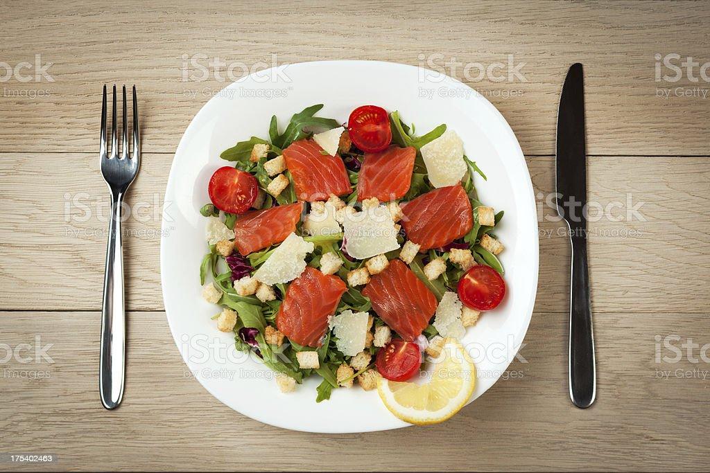 Smoked salmon salad stock photo