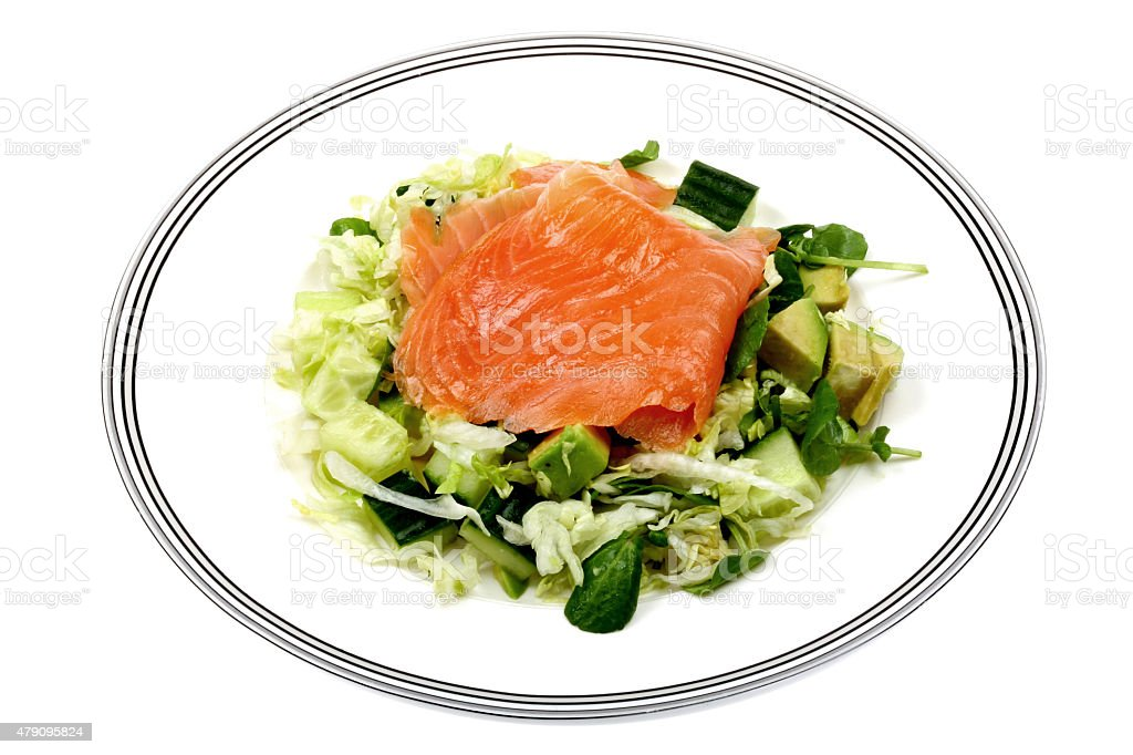 Smoked Salmon Salad with Mixed Salad Leaves Cucumber and Avocado stock photo