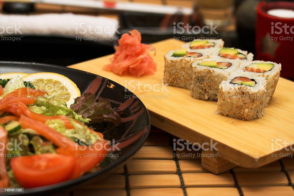 Smoked salmon salad with tuna and prawns royalty-free stock photo