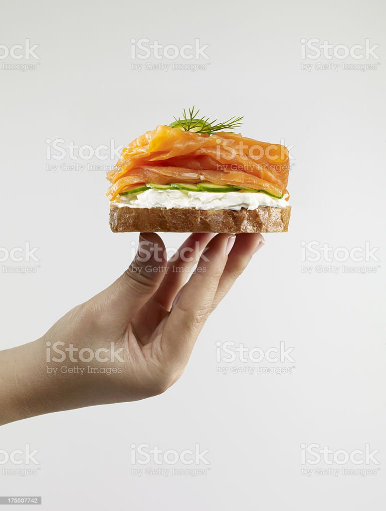 Smoked Salmon Sandwich stock photo