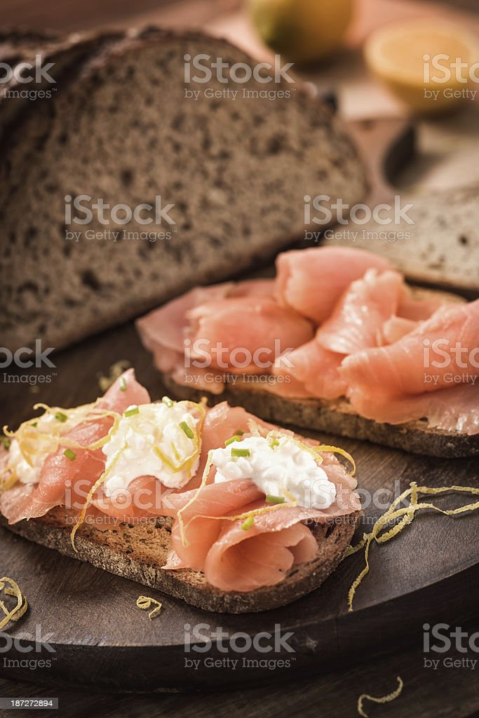 Smoked Salmon Sandwich royalty-free stock photo