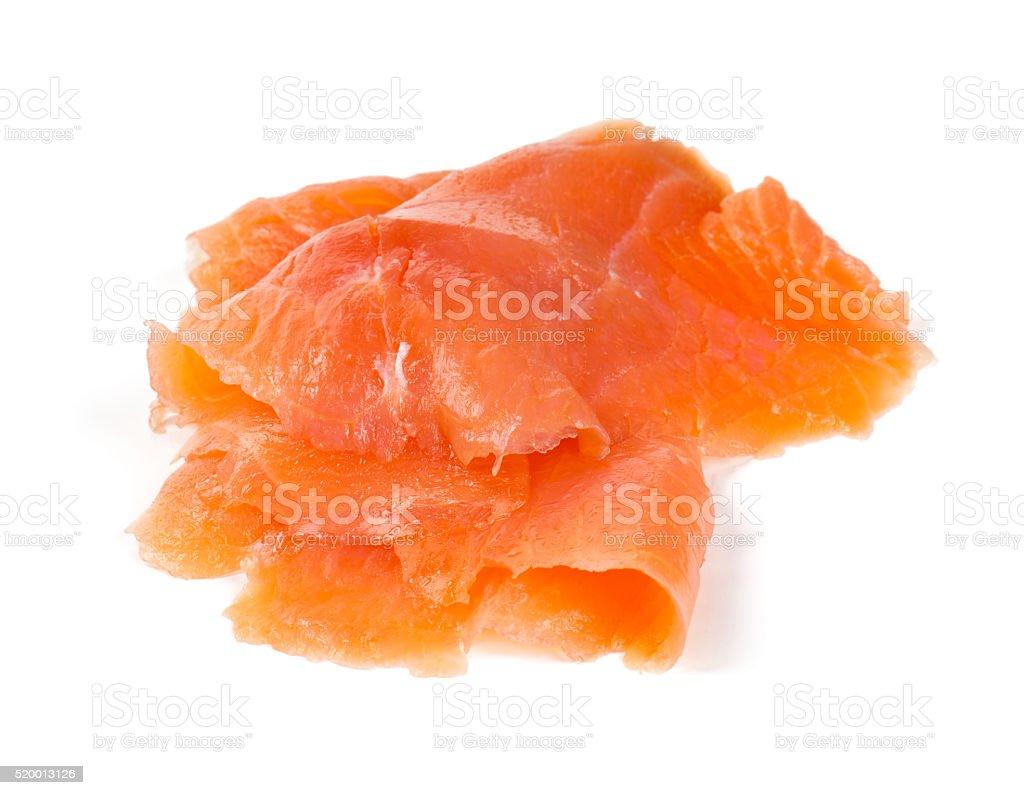 smoked salmon slices isolated on white background stock photo