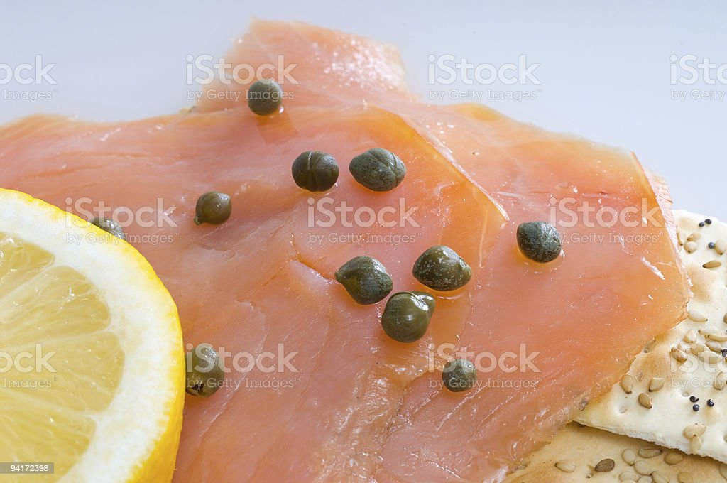 smoked salmon with capers royalty-free stock photo