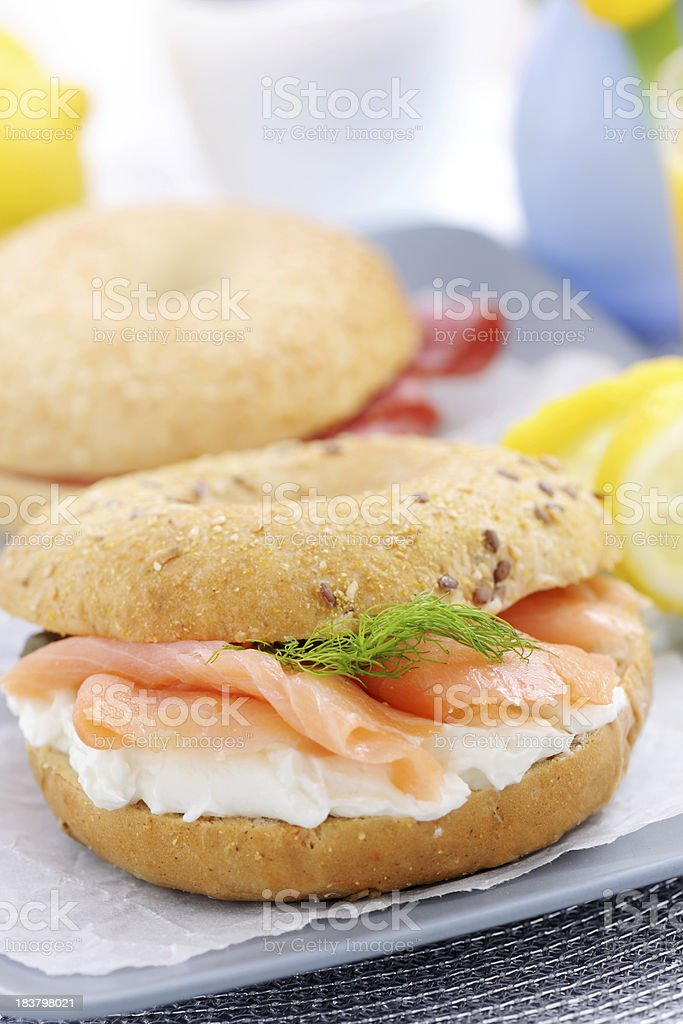 Smoked Salmon with cream cheese on a bagel stock photo