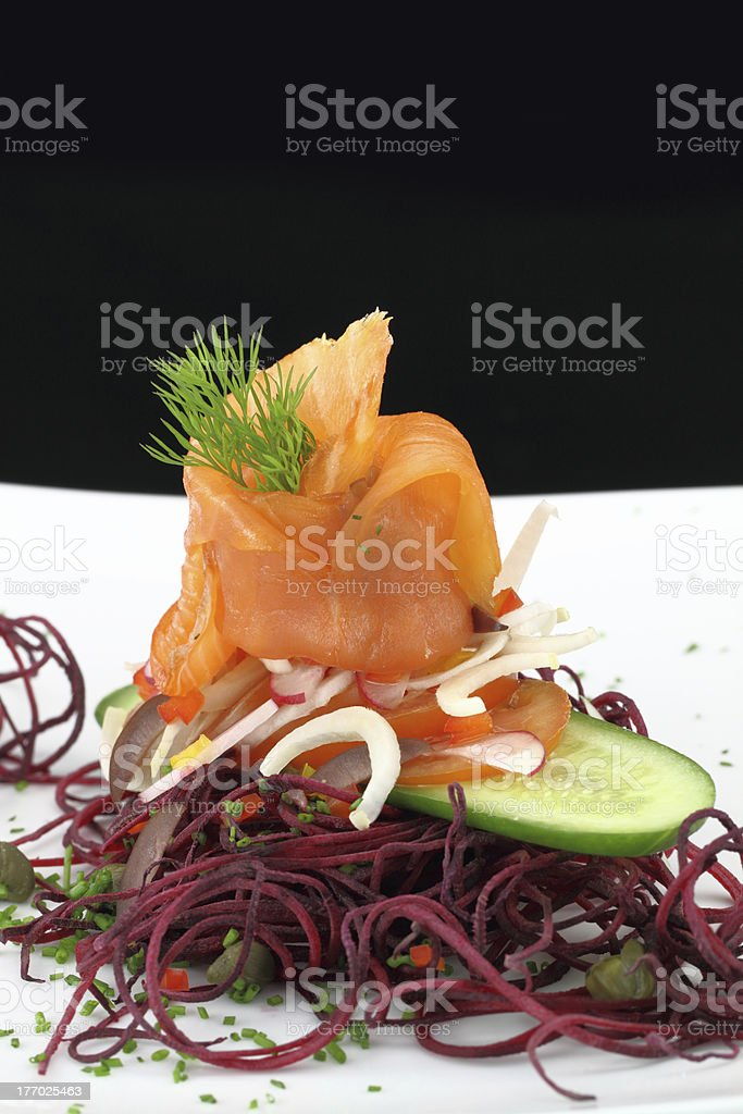 Smoked salmon with vegetables royalty-free stock photo