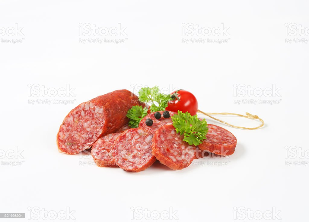Smoked sausage salami stock photo