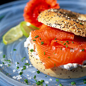 Smoked Sliced Salmon With Cream Cheese On a Seeded Bagel