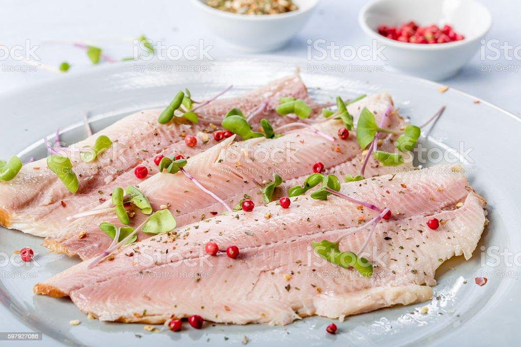 smoked trout filet stock photo