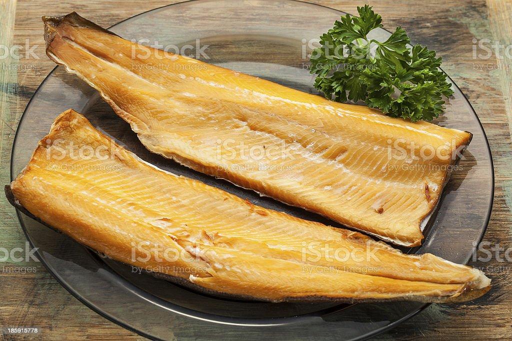 smoked trout stock photo