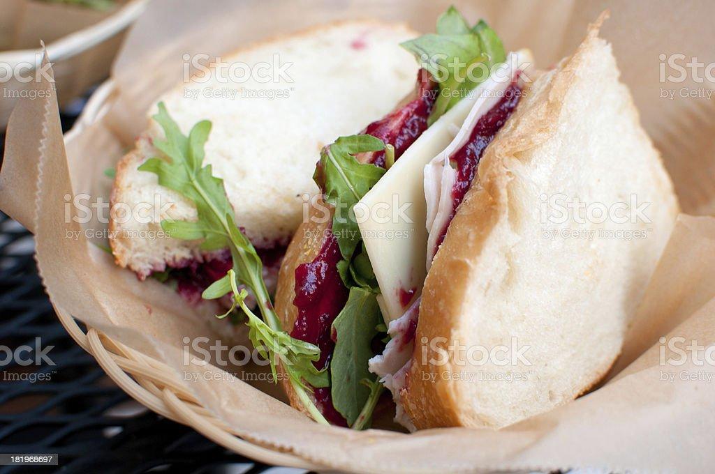 Smoked turkey and cranberry sauce sandwich stock photo