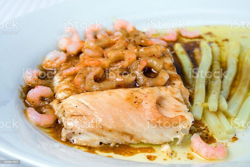 Smoked whitefish and shrimps royalty-free stock photo