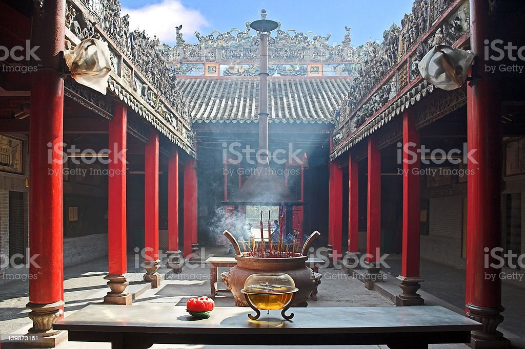 Smoke-filled temple stock photo