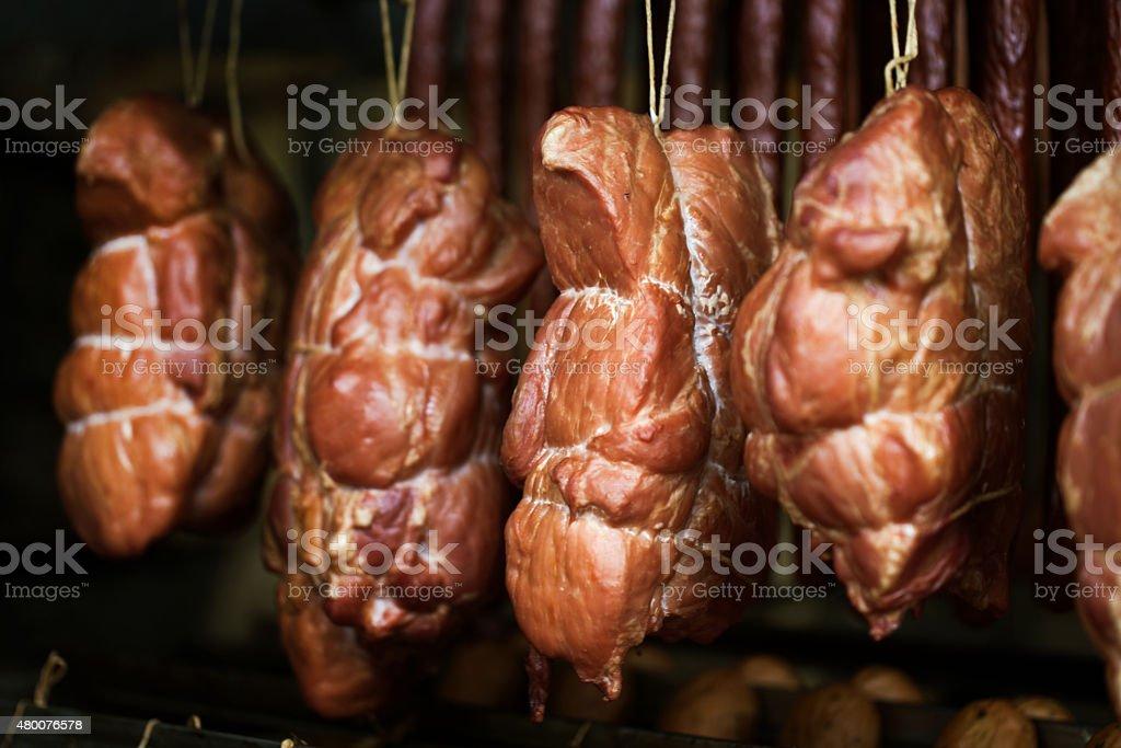 smokehouse - Smoked meats - ham, bacon stock photo