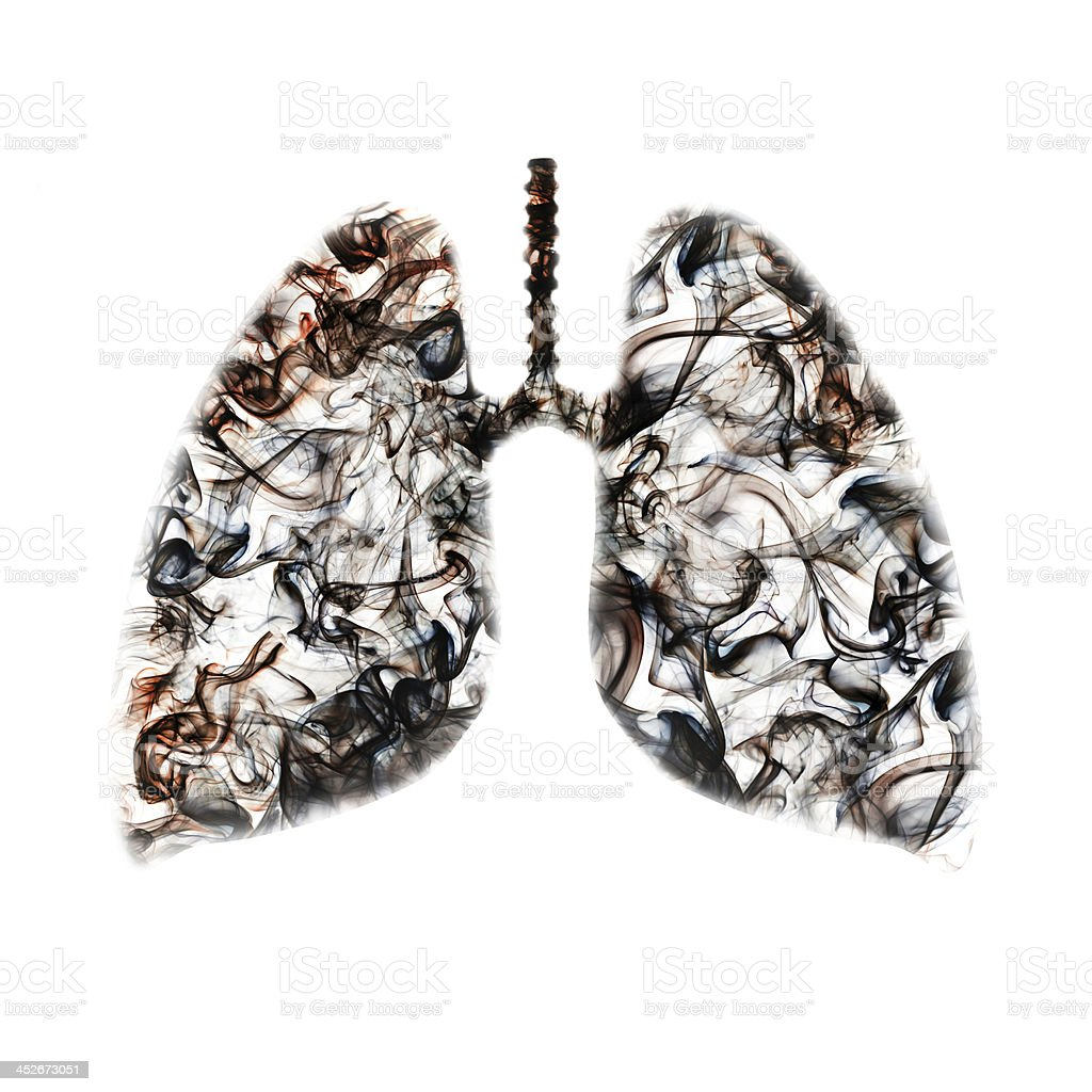 Smokers lungs concept stock photo