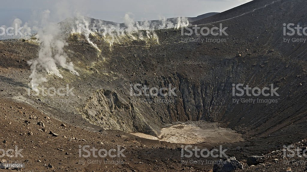 Smoke-screen on the Mt. Vulcano stock photo