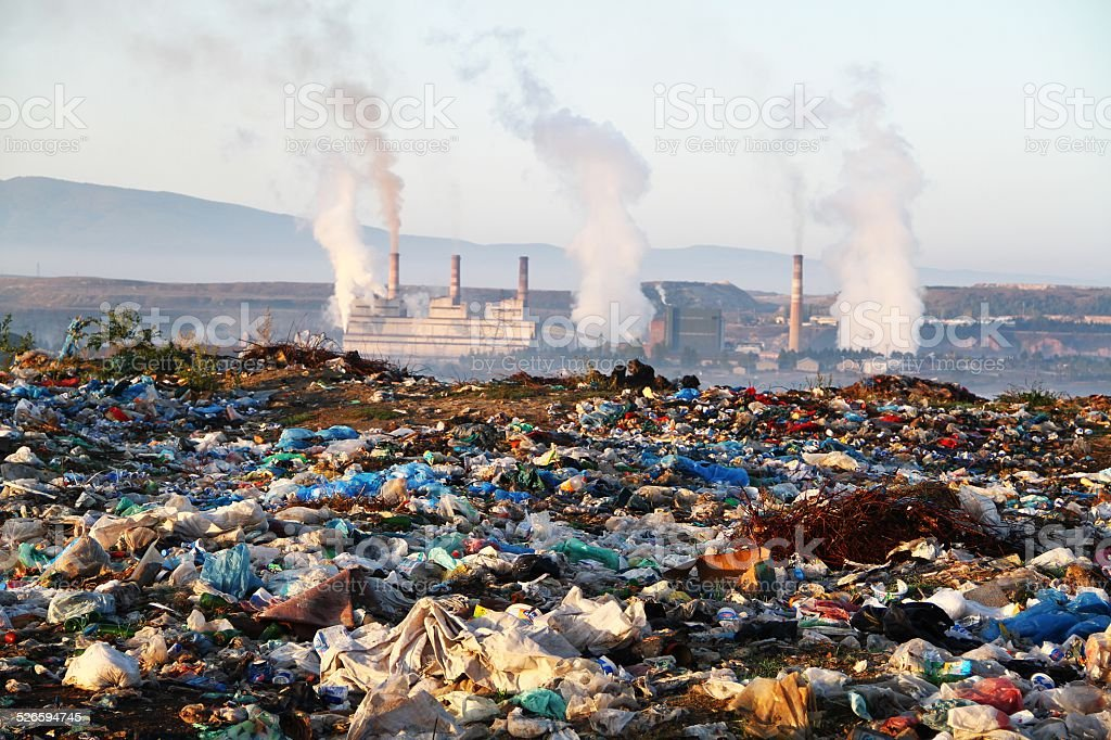 Smokestacks with pollution stock photo