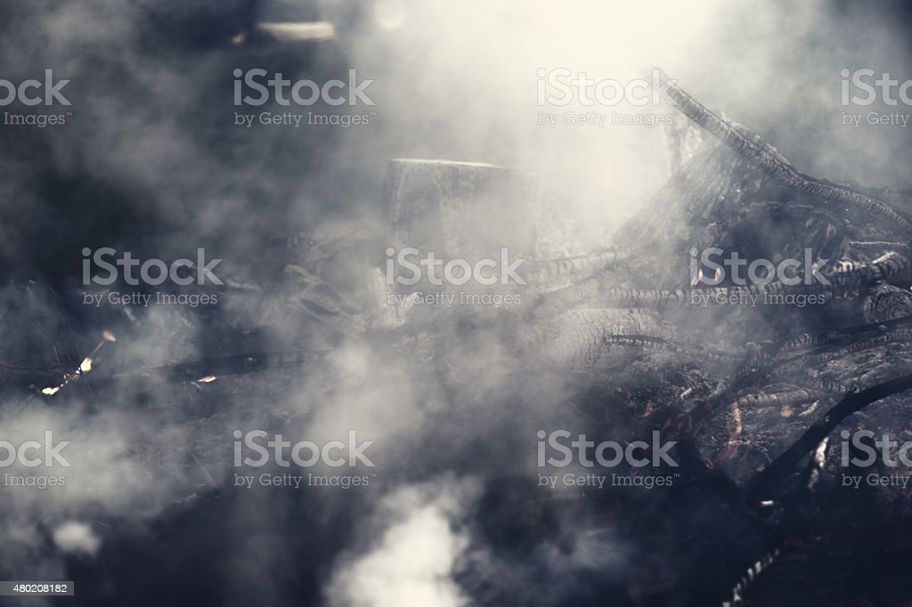 Smokey Brush Fire stock photo