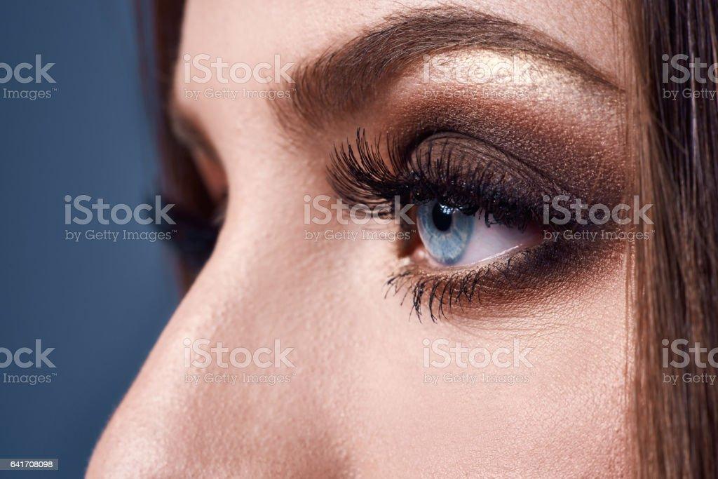 smokey eyes, macro shot stock photo