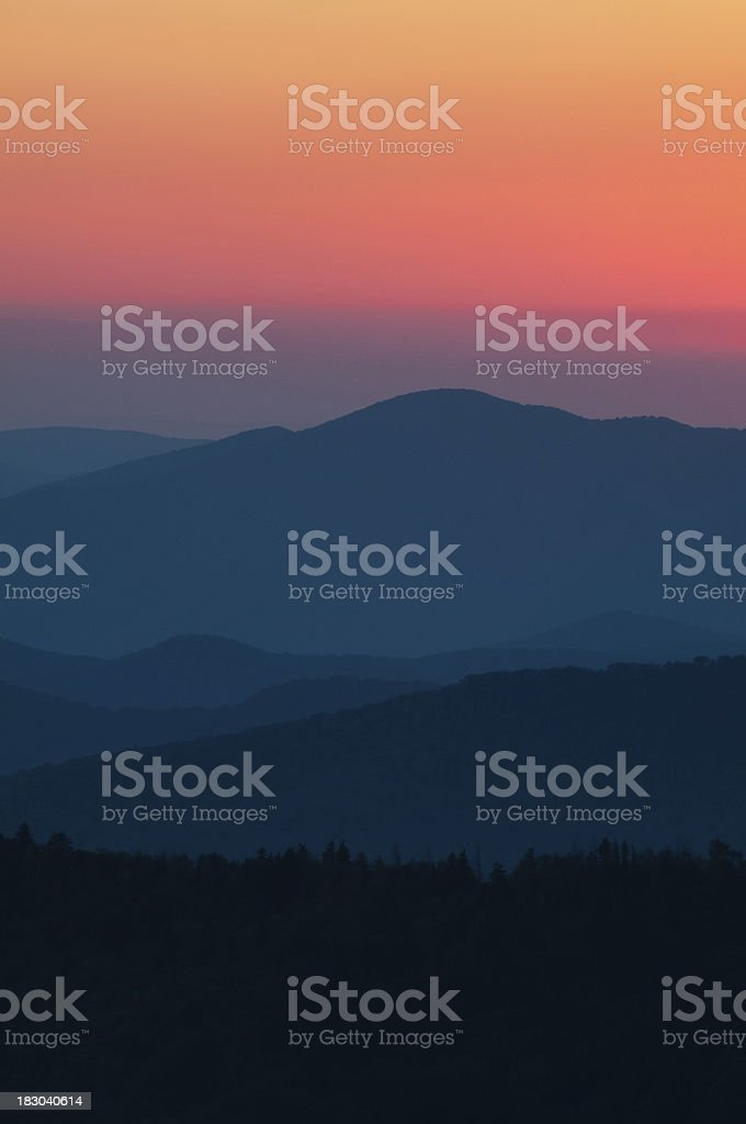 Smokey Mountain Sunset stock photo