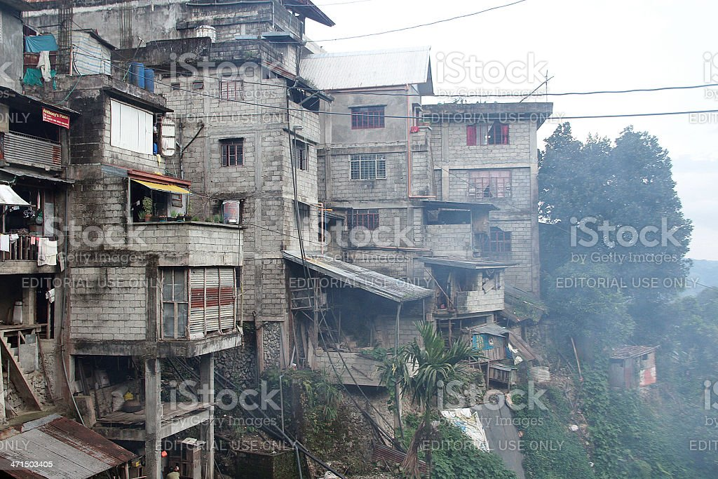 Smokey Shanty Houses in Banaue royalty-free stock photo