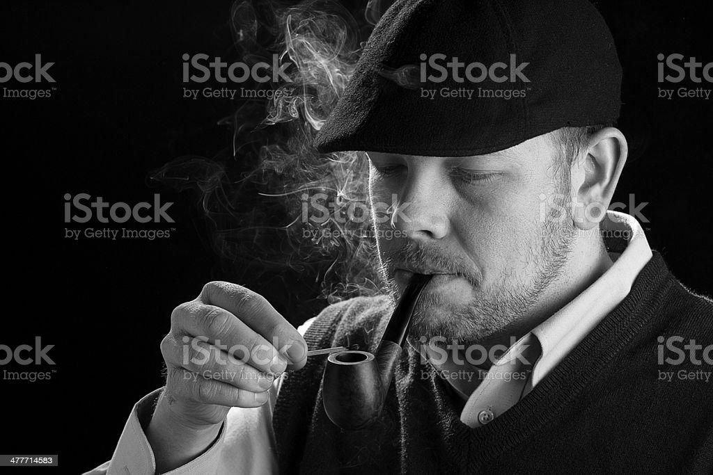 Smoking A Pipe stock photo