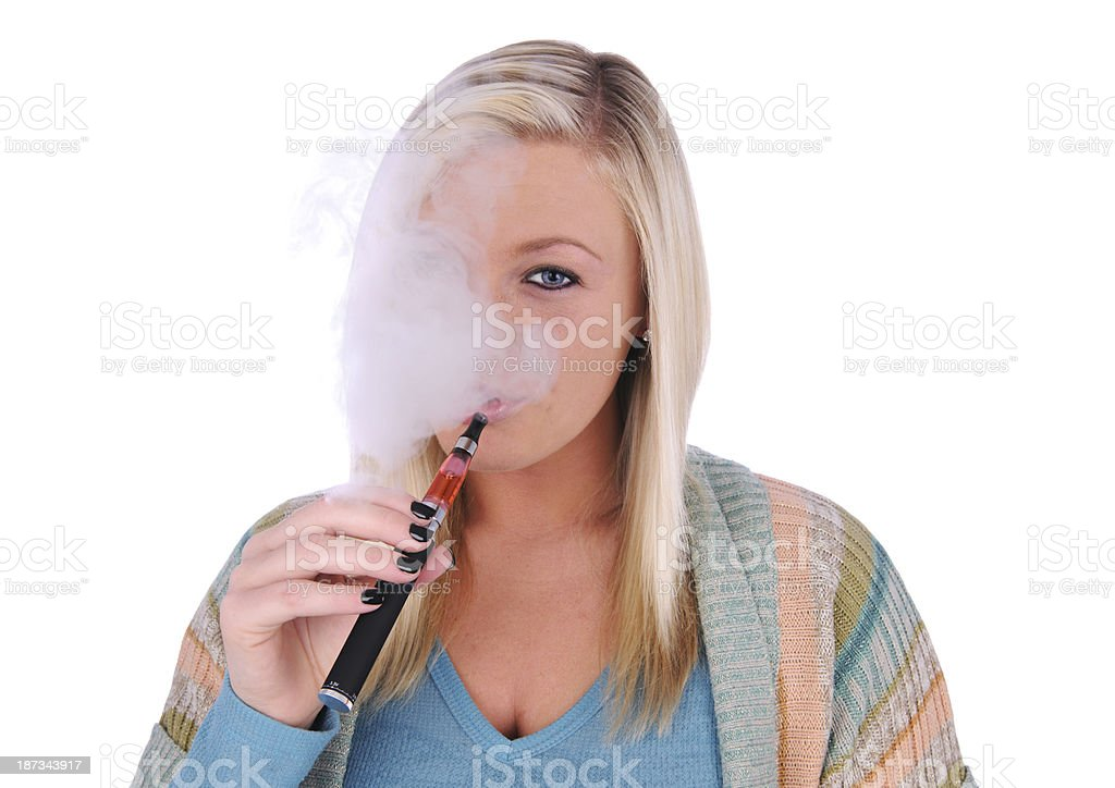 Smoking An Electronic Cigarette stock photo