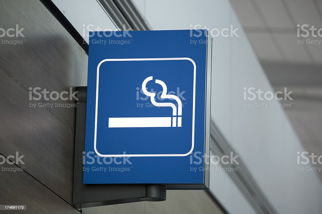 Smoking Area airport information sign stock photo
