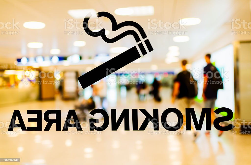Smoking Area in airport stock photo