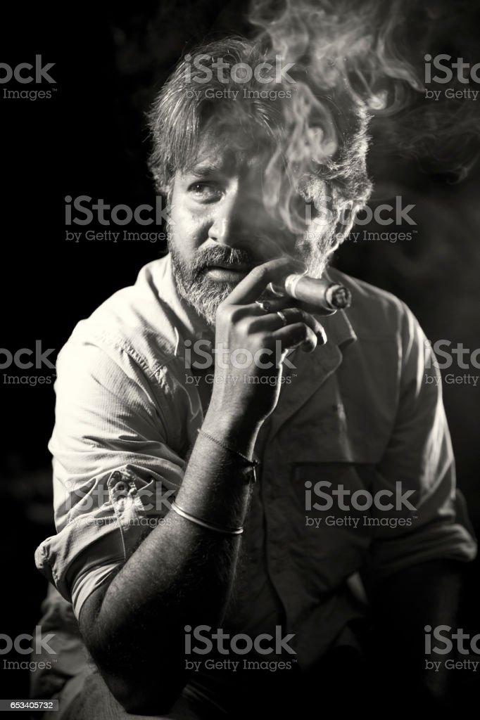 Smoking as Cigar. stock photo