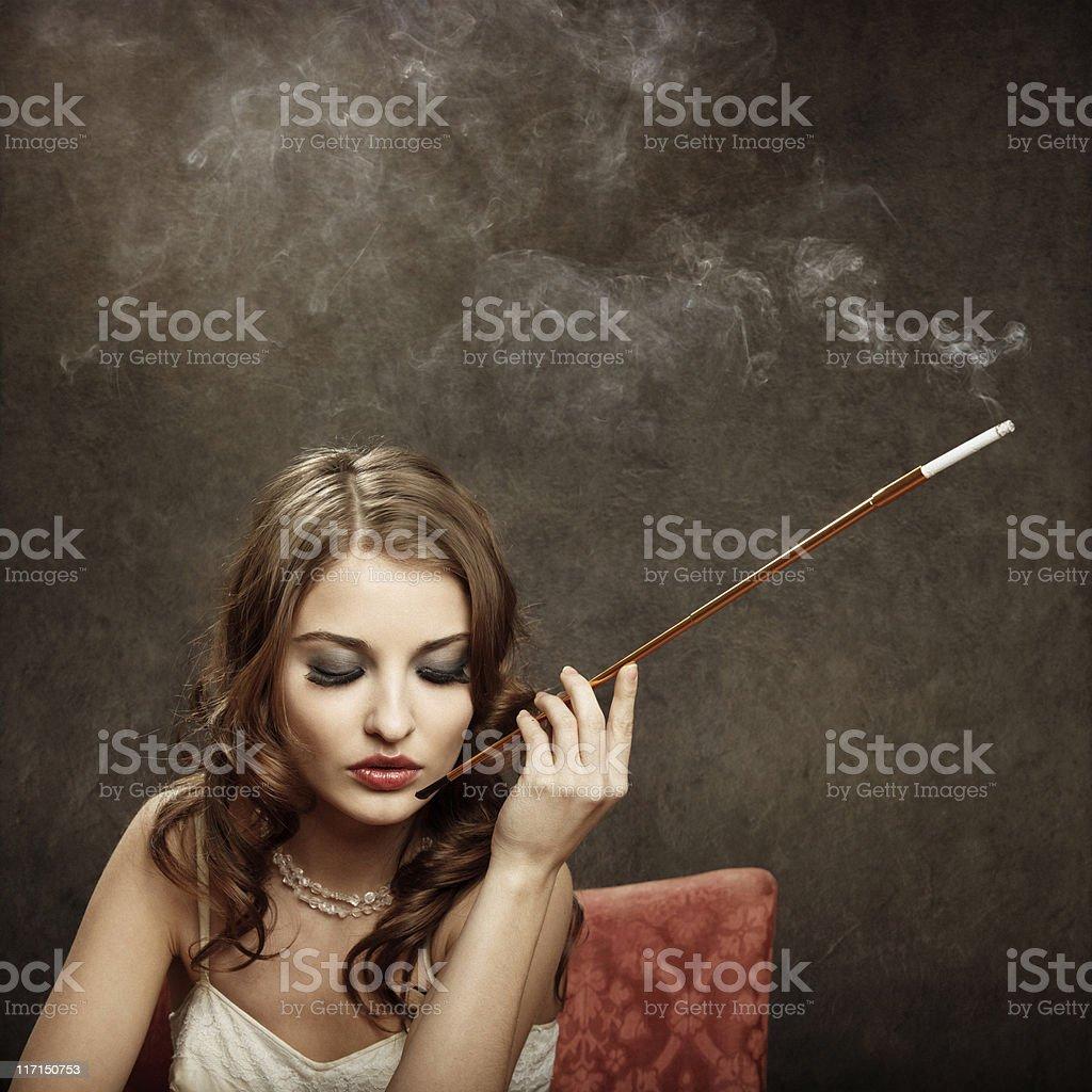 smoking bad girl - vintage style royalty-free stock photo