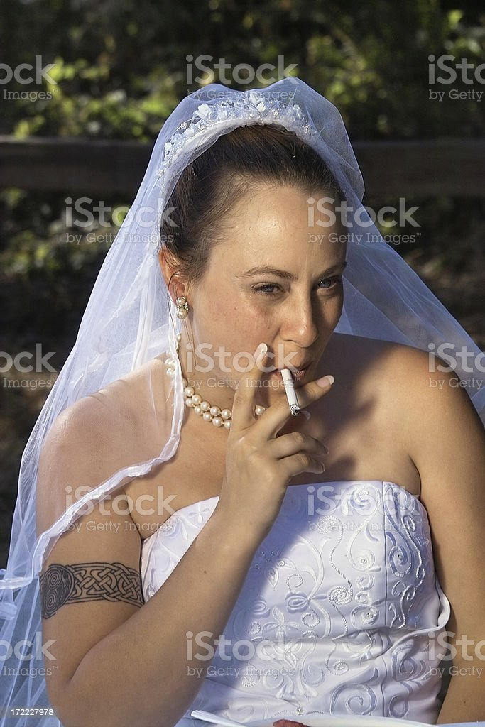 Smoking Bride royalty-free stock photo