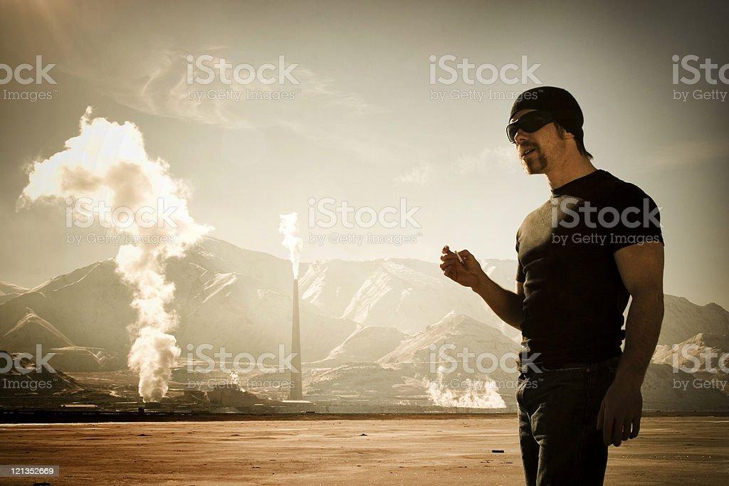Smoking by Smoke Stacks stock photo