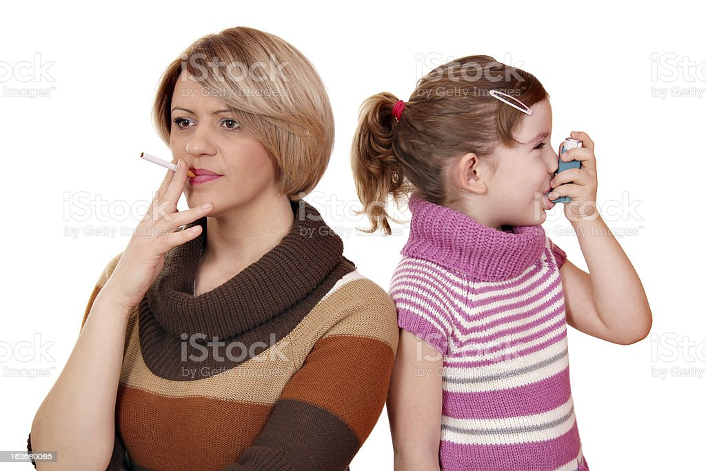 Smoking can cause asthma in children royalty-free stock photo