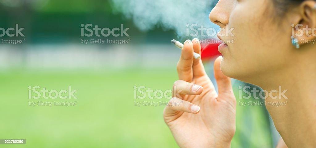 Smoking cannabis. stock photo