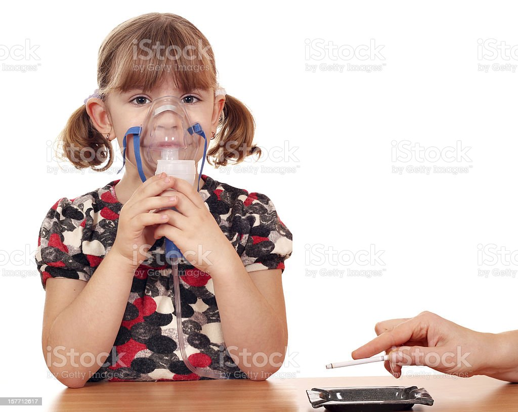 smoking causes disease in children stock photo