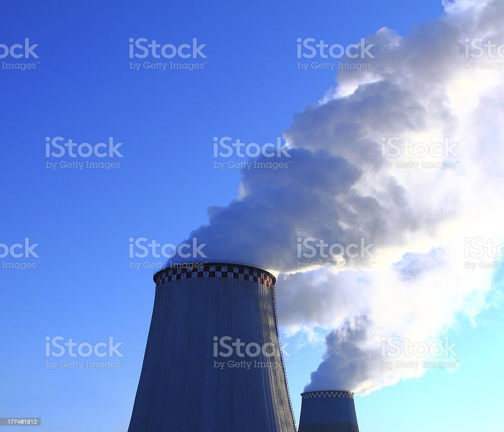 Smoking chimneys. Heat Electric Station. royalty-free stock photo