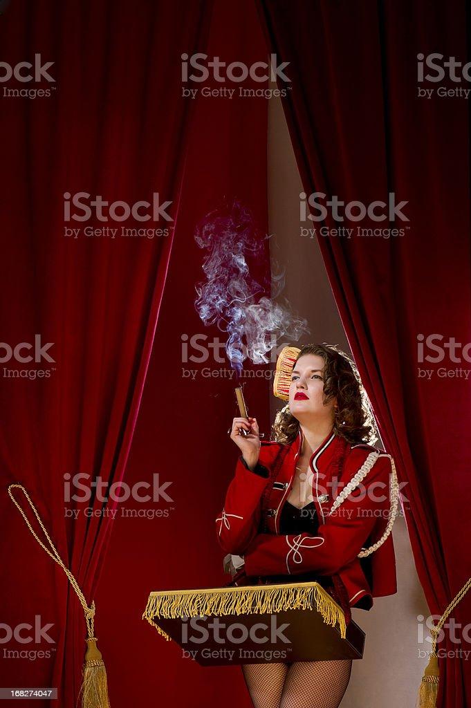 smoking cigarette girl stock photo
