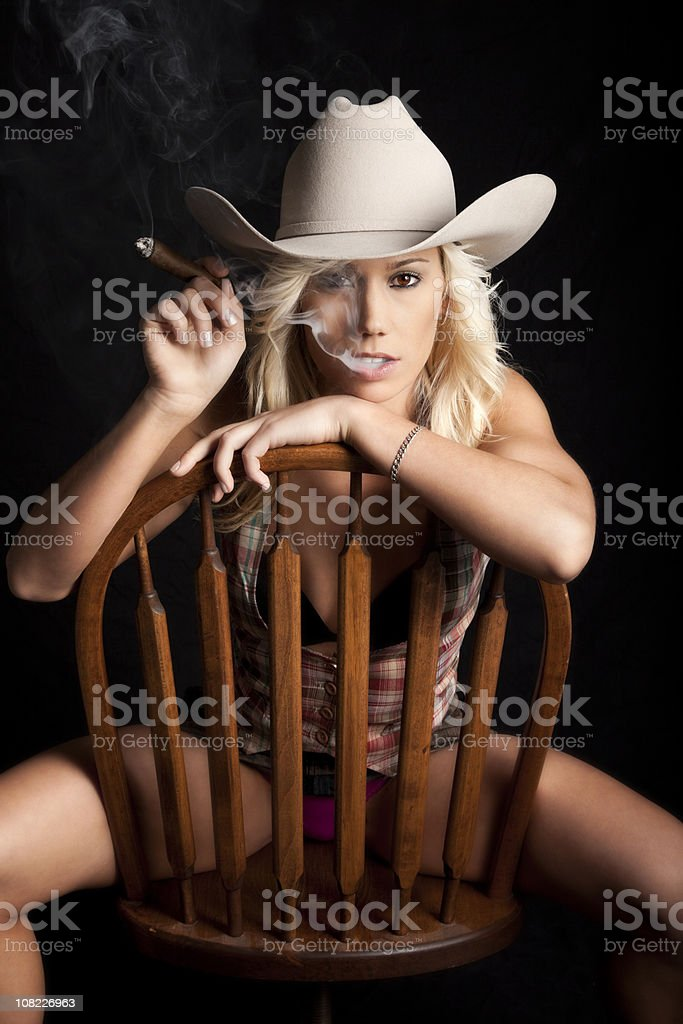 Smoking Cowgirl royalty-free stock photo