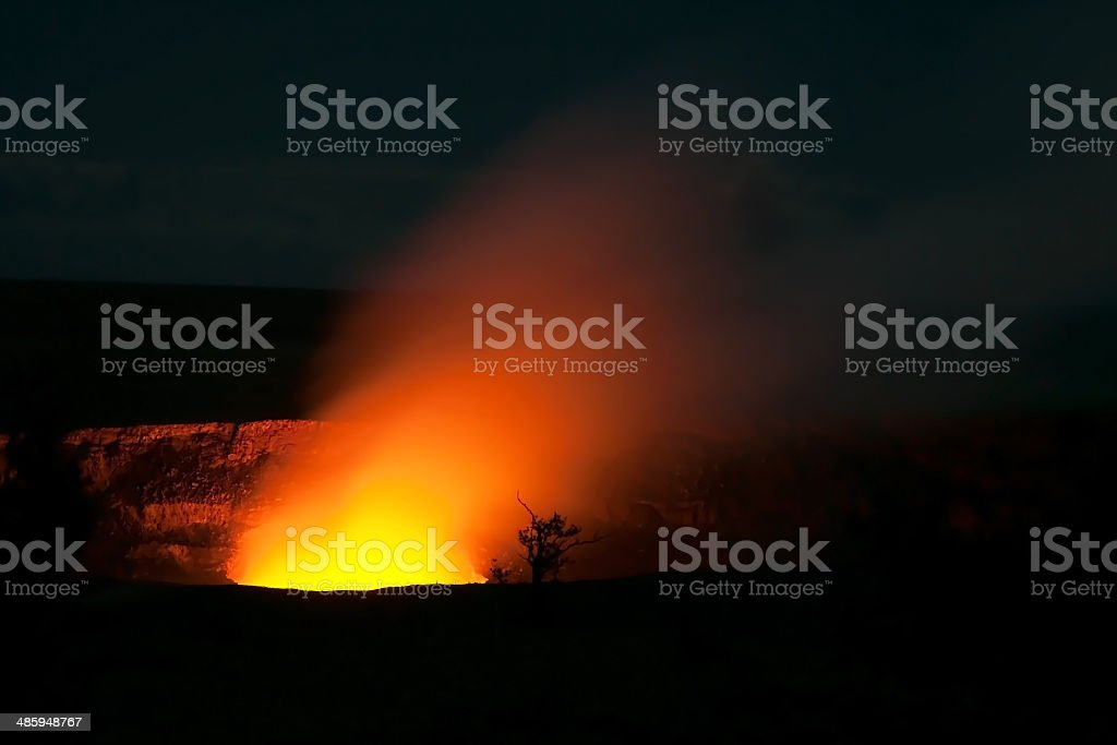 Smoking Crater of Halemaumau Kilauea Volcano in Hawaii Volcanoes royalty-free stock photo