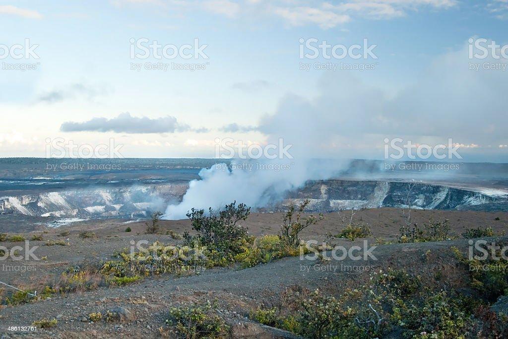 Smoking Crater of Halemaumau Kilauea Volcano in Hawaii Volcanoes royalty-free stock photo