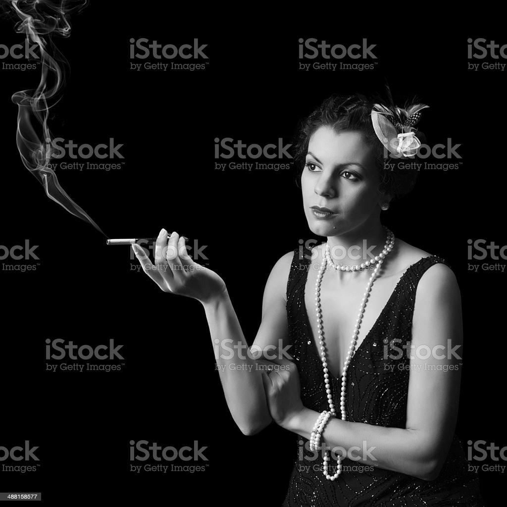 Smoking diva stock photo