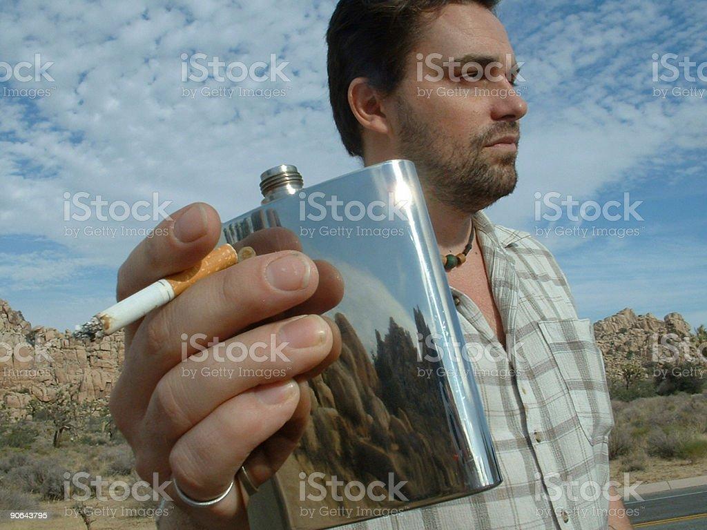 smoking, drinking, staring stock photo