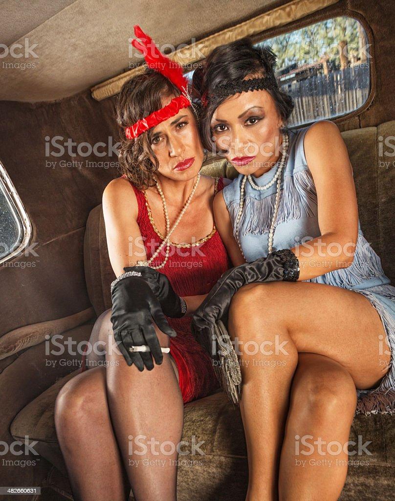 Smoking Flapper Women in Car stock photo