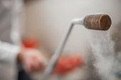 Smoking frozen pipe for liquid nitrogen