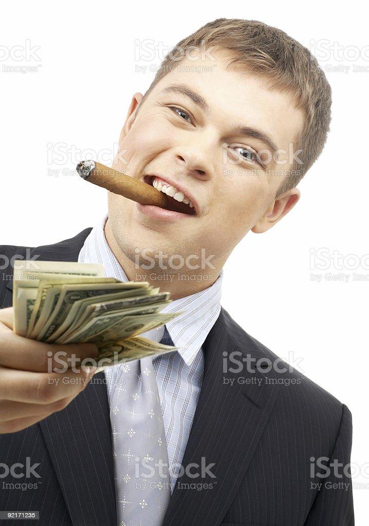 smoking gangster holding dollar bills stock photo